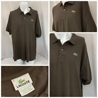 Lacoste Polo Shirt 9 3XL Brown 100% Cotton Short Sleeve Mint YGI T9-50