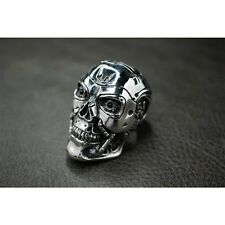 Heavy Solid 925 Sterling Silver T800 Skull Ring For Terminator Salvation Fans