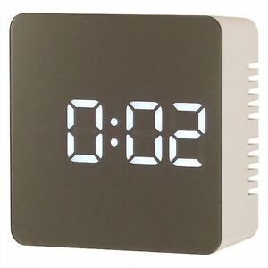 Ravel Mirror Finish Dimmable Led USB Charger Battery Alarm Clock - White