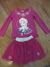 Disney Purple Pink Elsa Outfit Skirt TuTu 5T Long Sleeve Shirt EuC Frozen