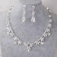 Women Set Wedding Bride Crystal Diamond Flower Necklace Earrings Gift Jewelry