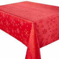 "Large Rectangular Red Snowflake Christmas Tablecloth 52"" x 108"""