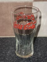 RETRO COCA COLA GLASS WITH RAISED RED LETTERING VERY GOOD CONDITION