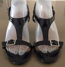"Retro CORELLI Black Patent PU ""Desmon"" Open Toes T-Bar Heels Size 9"