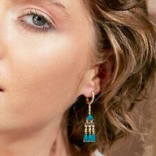 YELLOW CHANDELIER STYLE DANGLING EARRINGS W/ LAB DIAMONDS / TURQUOISE GEMS