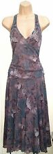 JIGSAW DUSKY MAUVE & TEAL MESH WRAP FRONT RUCHED FLARED EVENING DRESS SMALL