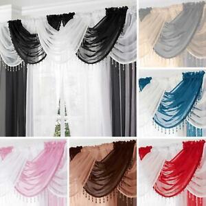 Beaded Voile Swags Plain Crystal Gem Trim Bling Beads Valance Pelmet Curtains