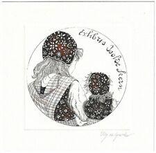 ELLY DE KOSTER: Exlibris für Isolde Kern, Mädchen in Tracht