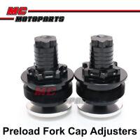 Black CNC Preload Fork Cap Adjusters For Kawasaki ZEPHYR 750 ZR750 1991-2007 06