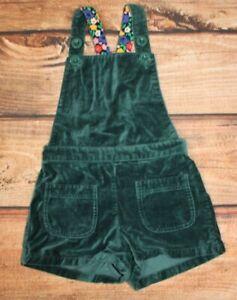 Mini Boden Girls Green Velvet Shorts Dungaree Pinafore 5-6 Years Cotton