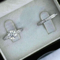 Certified 7 MM Round Moissanite Engagement Ring Wedding Band Set 14k White Gold