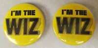 """Vintage """"I'm The Wiz"""" Pinback Button Lot of Two Yellow"""