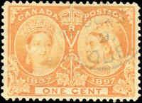 1897 Used Canada 1c VF Scott #51 Diamond Jubilee Stamp