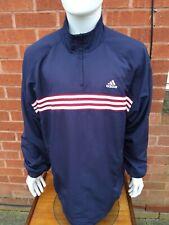 Mens Adidas Size XL XXL 44/46 Overhead Jacket Blue 100% Polyester Vintage VGC