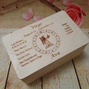 Personalised Zodiac Signs Wooden Box Keepsake Astrology Character Traits Gift