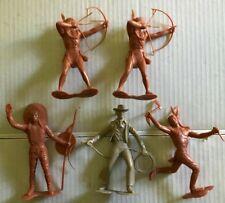 (5) Vintage 1964 Marx 6 Inch Cowboy & Indians Lot
