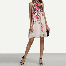 US Summer Dresses Casual Womens Floral Round Neck Cut Out Sleeveless Dress M
