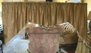 JC Penney Home Gold, Textured, Beaded, Tasseled, Swag Valance 99X36