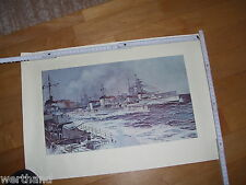 alter Druck Schiff Kriegsschiff Meer Schlacht Schiffe  Matrose Marine Kanone