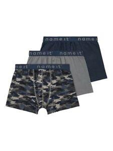 NAME IT 3er Pack Boxer Unterhosen Set blau grau Camo Größe 110/116 bis 158/164