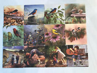 Lot Of 12 2 Sided Coasters, 8 Bird by C. McClung/Sam Timm, 4 Boy In Overalls