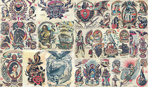 14 Sheet Traditional, Vintage Style American Old School Tattoo Flash Collection