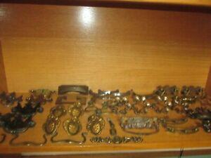 Big Lot of Vintage Metal Drawer Pulls Handles Different Shapes Sizes