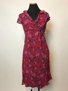 MOTHERHOOD MATERNITY Red Pink Burgundy Floral Chiffon Dress Medium M
