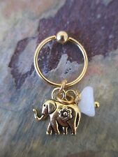 Gold Elephant Moonstone Cartilage Piercing Captive Tragus Earring 16G (1.2mm)