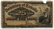 1900 Dominion of Canada - 25 Cents Shinplaster (Saunders)