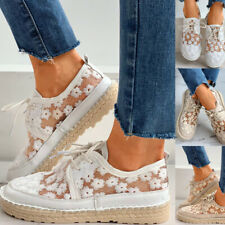 Floral Pattern Woven Flax Lace-up Sneakers Girl Casual College Style Sneakers