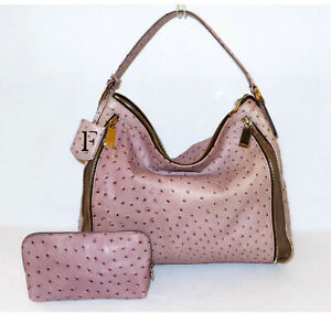 FURLA Classy PINK TAUPE OSTRICH with BROWN ZIPPER HOBO SHOULDER & POUCH Italy