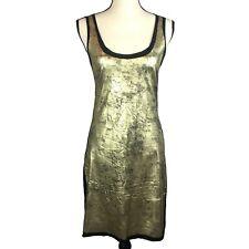 Tory Burch Womens XS Aventurine Gold Foil Print Jersey Dress Black NWT MSRP $195