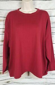 Eskandar Red Light Sweater Knit Top Boxy 100% Cotton One Size Oversized