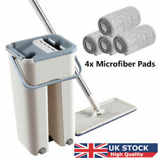 Mop Bucket Self Cleaning Drying Hand Free Wringing Flat Squeeze Microfiber+4 Pad