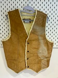 Vintage Mens Gilet Large Leather Distressed Light Tan