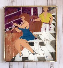 Mixed Media Painting Margarita Moguel Foil Art Couple Woman Man Mexican Folk Vtg