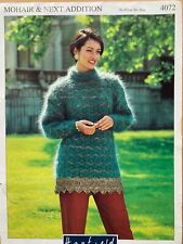 """Ladies Sweater Jumper with Shaped Border Knitting Pattern Chest 30 - 38"""" Mohair"""