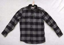 Levi's Flannel Shirt Men's Buffalo Plaid Gray & Black Cotton Long Sleeve Size M