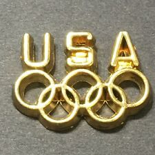 Vtg Simple Classic USA Gold Tone Olympics 5 Olympic Rings Lapel Tie Tack Pin