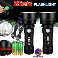 990000LM P70 LED Flashlight Tactical USB Rechargeable Waterproof 26650 Torch USA