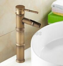 Antique Brass Bamboo Shaped Bathroom Basin Hot & Cold Faucet Mixer Taps 8nf017