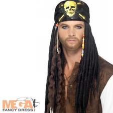 Adulto Caraibi BUCCANEER Nero Parrucca con trecce e velo JACK FANCY DRESS
