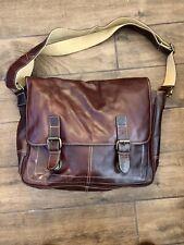 Jack Spade Fossil Brown Leather Buckle Messenger Laptop Bag