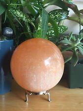 70 mm Orange Selenite Sphere Specimen Red Selenite Sphere Chakra Crystal W/Stand