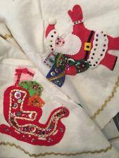 vintage 50s handmade christmas tree felt skirt santa reindeer sequins beads kit - Vintage Christmas Tree Skirt