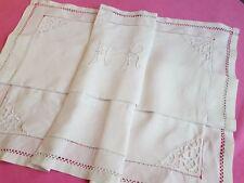 Taie d'oreiller ancienne en fil de lin jour monogramme brodé  HR - 12886