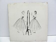 Vintage 1940's Drawing Sketch The Mirror Concept Art