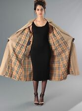 SZ 14 LONG, AUTHENTIC CLASSIC VTG BURBERRYS' TAN TRENCH W/ NOVA CHECK LINING