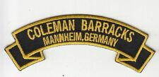 """Coleman Barracks ,Mannheim Germany embroidered 4"""" scroll tab patch"""